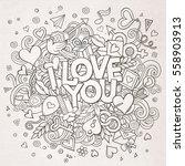 cartoon vector hand drawn... | Shutterstock .eps vector #558903913