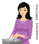 illustration of a girl in a... | Shutterstock .eps vector #558917413