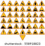 road signs in poland. warning...   Shutterstock .eps vector #558918823