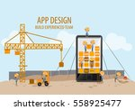 mobile application development... | Shutterstock .eps vector #558925477