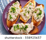 italian bruschetta sandwiches... | Shutterstock . vector #558925657
