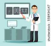 doctor near x ray film pointing ... | Shutterstock .eps vector #558934147