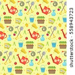 gardening seamless pattern with ... | Shutterstock .eps vector #558943723