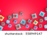 gift box on color background   Shutterstock . vector #558949147