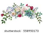 pastel floral bouquet drop... | Shutterstock . vector #558950173