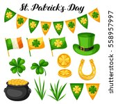 saint patricks day objects.... | Shutterstock .eps vector #558957997