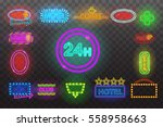 set of neon sign light at night ... | Shutterstock .eps vector #558958663