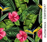 seamless pattern with tropical... | Shutterstock .eps vector #558959197