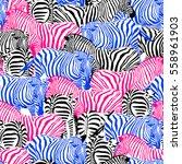 colorful zebra seamless pattern.... | Shutterstock .eps vector #558961903
