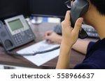 close up call centre man... | Shutterstock . vector #558966637