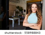 young woman standing in clothes ... | Shutterstock . vector #558988843