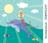 blonde girl swims with a... | Shutterstock .eps vector #558992197