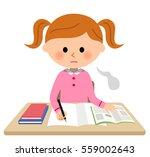 the girl who studies sigh | Shutterstock .eps vector #559002643