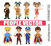 set of diverse kids isolated on ... | Shutterstock .eps vector #559008733