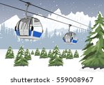 blue cable car lift at ski... | Shutterstock .eps vector #559008967