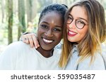 close up face shot of two... | Shutterstock . vector #559035487
