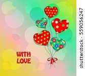 card with a bouquet of the... | Shutterstock . vector #559056247