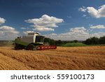 Combine In Barley Field  Summe...