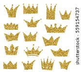 set of hand drawn crowns in... | Shutterstock .eps vector #559154737