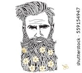 bearded hipster man. coloring... | Shutterstock .eps vector #559154947