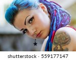 portrait of cool young girl... | Shutterstock . vector #559177147