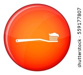toothbrush icon in red circle... | Shutterstock . vector #559177807
