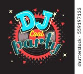 dj party poster design with...