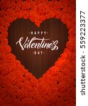 happy valentines day lettering... | Shutterstock .eps vector #559223377