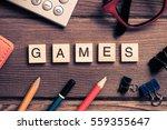 workspace desk with keyboard... | Shutterstock . vector #559355647