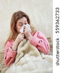 young woman with flu and...   Shutterstock . vector #559362733