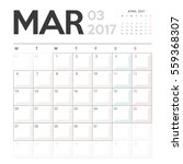 calendar planner for march 2017 ... | Shutterstock .eps vector #559368307