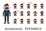 diverse set of ninja emoticons. ... | Shutterstock .eps vector #559368613
