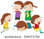 five kids crying with tears... | Shutterstock .eps vector #559371703