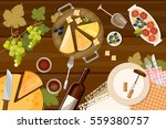 wine and cheese tasting top... | Shutterstock .eps vector #559380757