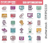 thin line seo optimization and... | Shutterstock .eps vector #559392223