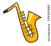 funny and cute saxophone from... | Shutterstock .eps vector #559395883