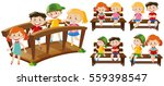 happy kids on seats and bridge... | Shutterstock .eps vector #559398547