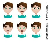 young guy. face. different... | Shutterstock . vector #559403887