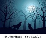 silhouette of the wolf howling... | Shutterstock .eps vector #559413127