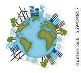 sustainable city with wind... | Shutterstock .eps vector #559424857