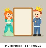prince and princess with blank... | Shutterstock .eps vector #559438123