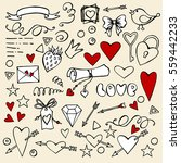 valentine's day doodle set with ... | Shutterstock .eps vector #559442233