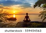 Stock photo serenity and yoga practicing at sunset meditation 559454563