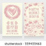 cute cards with doodle heart... | Shutterstock .eps vector #559455463