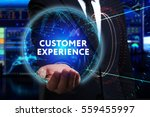 Small photo of Business, Technology, Internet and network concept. Young businessman working in the field of the future, he sees the inscription: customer experience
