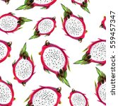 dragon fruit. seamless fruit... | Shutterstock . vector #559457347