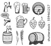 beer mugs  wooden barrels  hop  ... | Shutterstock .eps vector #559461217