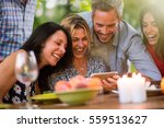 group of friends having fun by... | Shutterstock . vector #559513627
