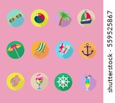 icons on the marine theme ... | Shutterstock .eps vector #559525867