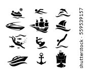 sport and leisure at sea. icons.... | Shutterstock .eps vector #559539157